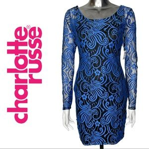Charlotte Russe Long Sleeve Blue Lace Dress Small